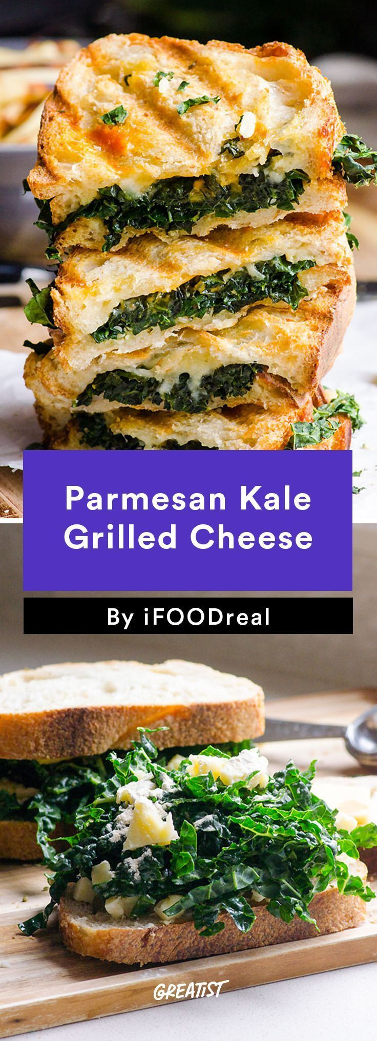 2. Parmesan Kale Grilled Cheese #healthy #weeknight #dinners http://greatist.com/eat/clean-eating-recipes-for-busy-weeknights