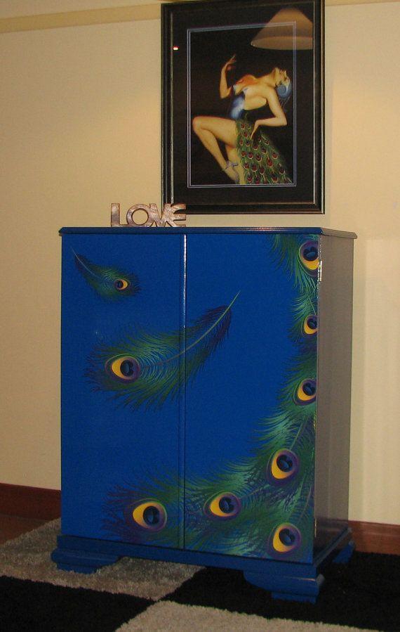 Storage cabinet cupboard in peacock design