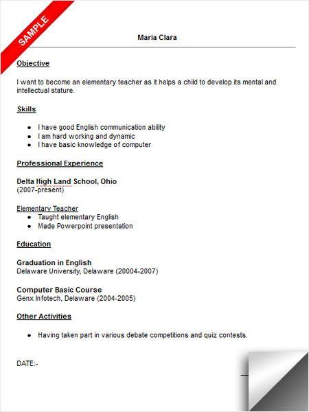 Elementary Teacher Resume Sample Resume Examples