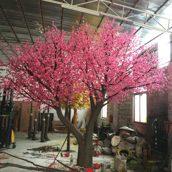 Custom Fake Peach Blossom Tree Outdoor Landscaping Artificial Cherry Blossom Tree Peach Blossom Tree Outdoor Landscaping