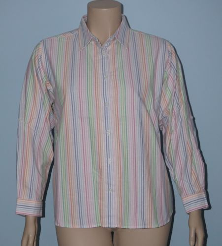 Dressbarn-NWT-Rainbow-Striped-Roll-Tab-Sleeve-Button-Down-Shirt-Top-Size-2x