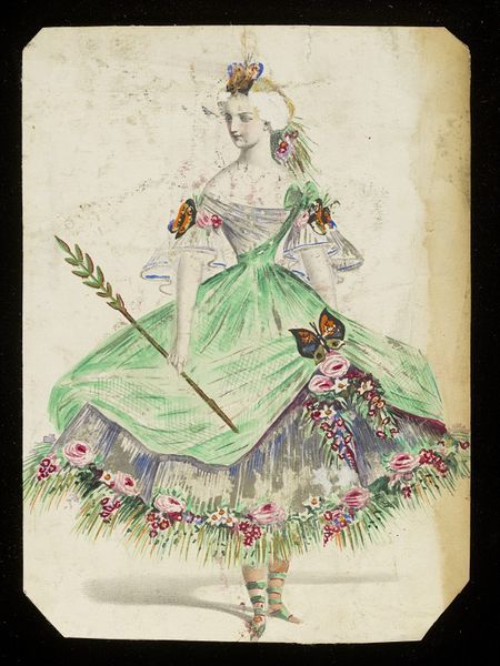 1860s Design for a fancy-dress costume | Jules Helleu | The subject is unclear, but may represent a theme such as Summer or Flora. The draped green net and silver tissue dress is abundantly trimmed with quantities of artificial flowers and large brightly patterned butterflies, and is paired with unusual green sandals.