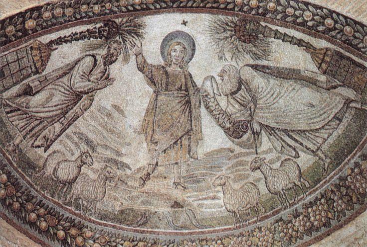 """Mausoleo di Santa Costanza, Roma. Mosaico. Cristo e i Santi Pietro e Paolo. IV sec. I mosaici di Santa Costanza sono i più antichi mosaici monumentali cristiani sopravvissuti a Roma (360). La traditio legis (""""consegna della legge"""") è un tema iconografico tipico dell'arte paleocristiana. Si tratta di raffigurazioni di Cristo tra San Paolo e San Pietro."""