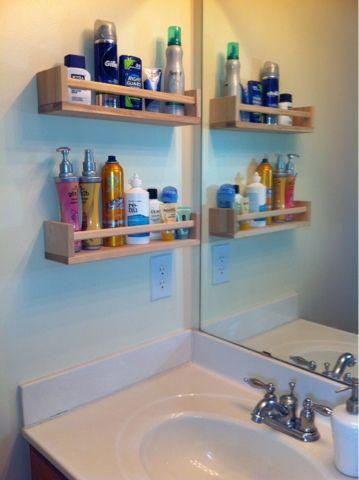 Spice racks = Bathroom organization.  This is soooo happening in our little bathroom.