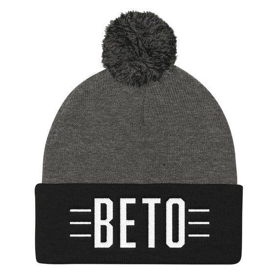 Beto O'Rourke Embroidered Pom Pom Knit Cap | Beto O'Rourke for President Hat 2020