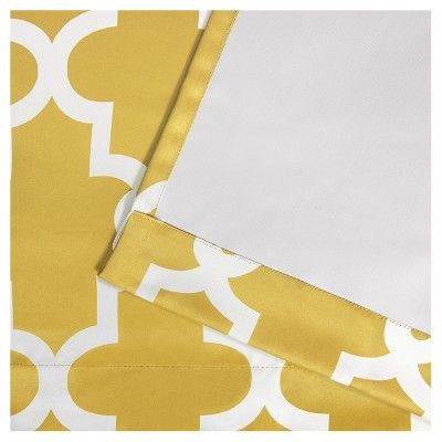 "Ironwork Sateen Woven Room Darkening Window Curtain Panel Pair Yellow (52""x84"") - Exclusive Home"