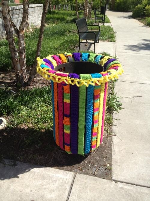 its-tuesday-again: someone yarn bombed the trash cans outside of the art…