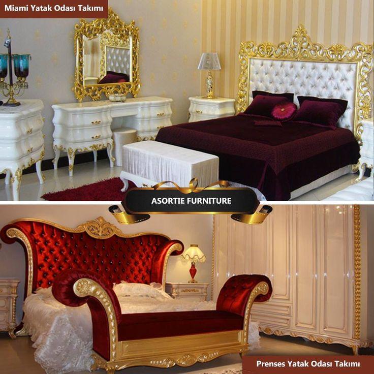 Asortie Mobilya'nın yaşam mekânları için tasarladığı tüm yatak odası modelleri kendine özgü tasarımları ve el işçilikleri ile ön plana çıkıyor. Mobilya tutkunlarının karşı koyamadıkları klasik tarzlar ile üretilen yatak odası takımları tamamen doğal ahşaptan oyma sanatının ince motifleri ile zenginleşiyor. Yatak odalarına zarafet ve ihtişam kazandıran Asortie klasik yatak odası modelleri sıra dışı tasarımları ile mekâna farklı bir stil kazandırıyor.