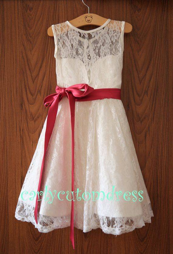 Red Sash Lace Ivory Flower Girl Dress Wedding by CarlyCustomDress, $64.99  For Kennedy.