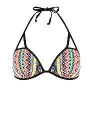 Multi Coloured Tribal Print Bikini Top  | New Look