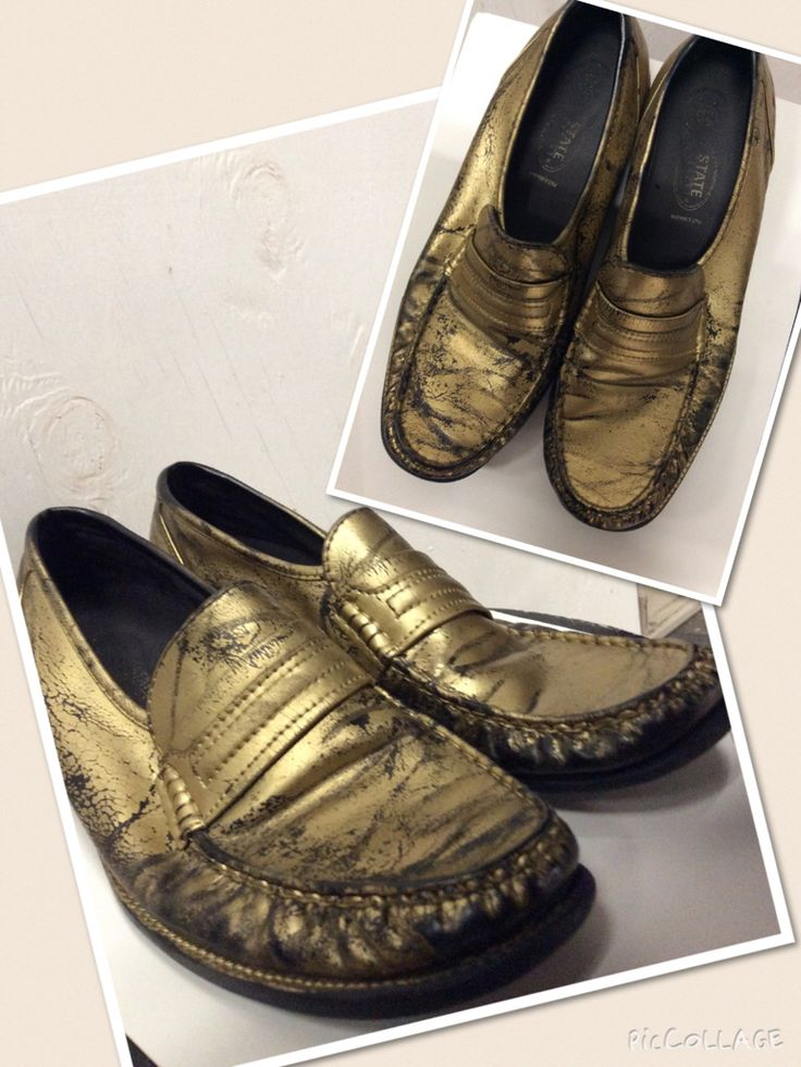 Men's size 12. Distressed gold spray painted loafers.