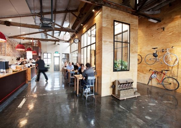 Seven Seeds cafe + roastery fitout in a converted inner city warehouse by Breathe Architecture. Incidentally one of my favourite coffee dealers in Melbourne. Nice to know it's credited with being uber ecologically sound too.
