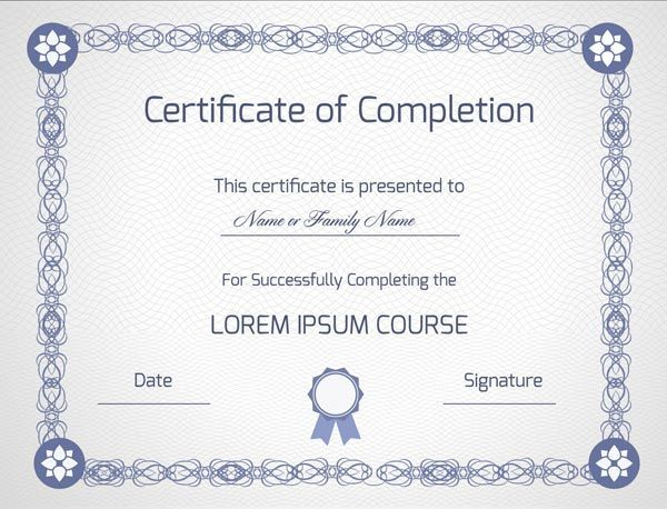 Blank certificate of completion vector