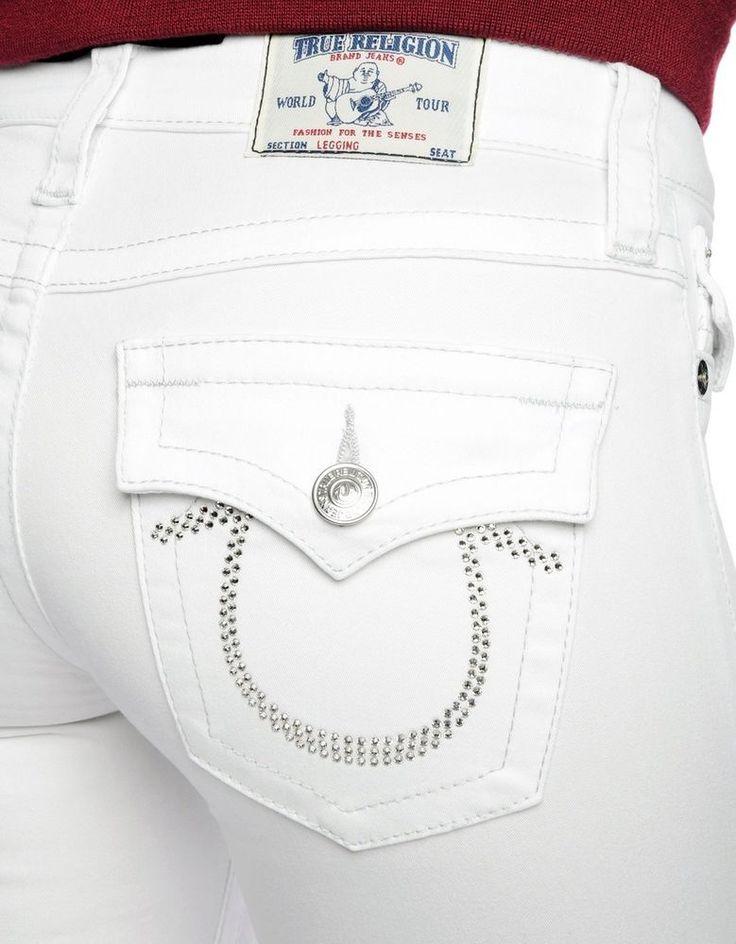 True Religion Womens Jeans Size 25 Twill Crystal Legging Optic White NWT $282 #TrueReligion #Leggings
