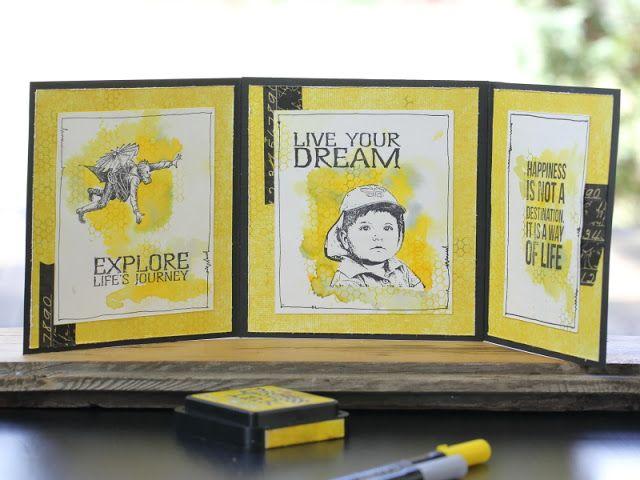 męska kartka, tryptyk, masculine stamps card