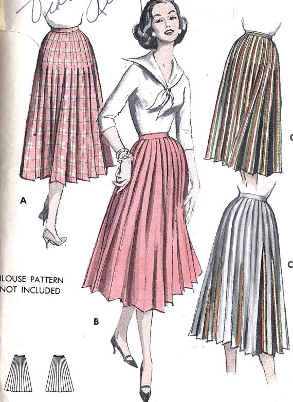 1950s misses knife pleated skirt flat folds that