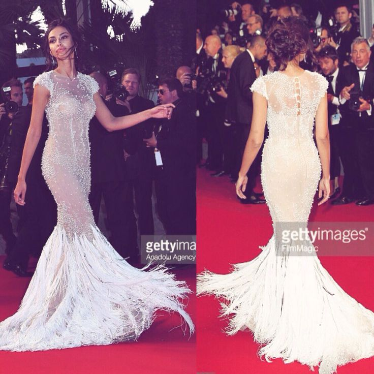 """Madalina Ghenea in our dress at the 2015 Cannes Film Festival, """"Youth"""" premiere"""