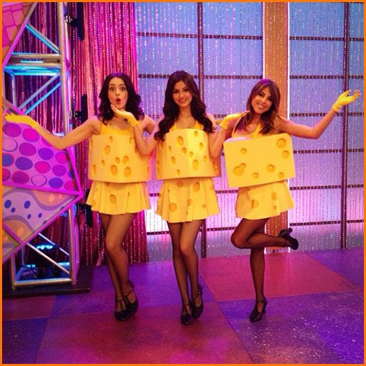 "Nickelodeon ""Victorious"" Stars Victoria Justice, Liz Gillies And Daniella Monet Dress Up As Cheese"