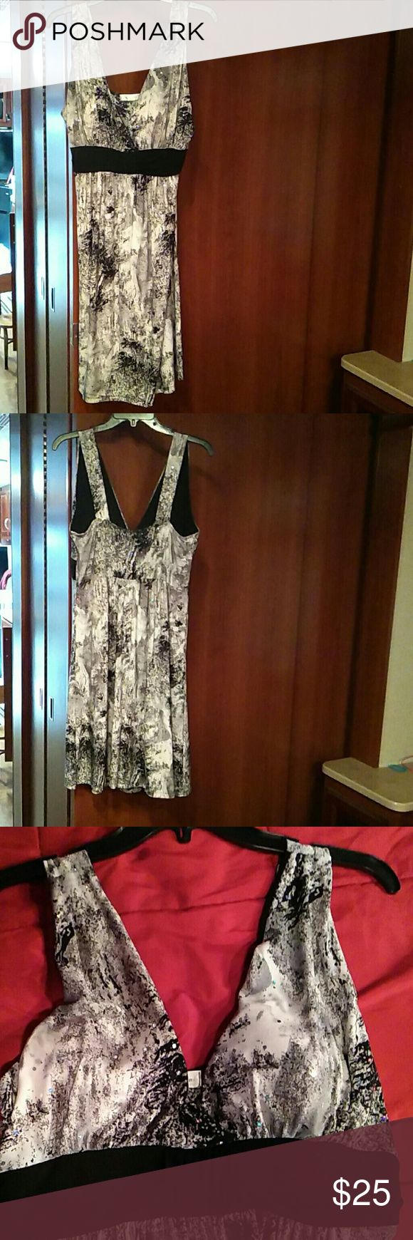 Dana point dress Black and White with iridescent sequins dress. NWOT. Very flowy/stretch. 38.5 in long, 18 in armpit. Dresses