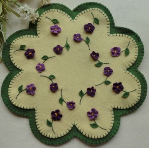 "Forget-Me-Nots Wool Applique Candle Mat Pattern- Violets ""Summertime Violets"" http://www.cathspenniesdisigns.com"