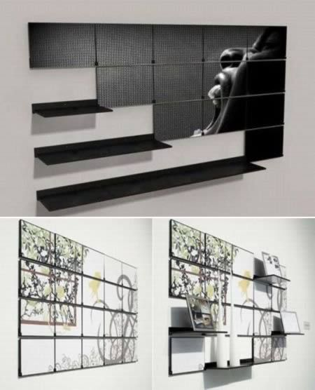 Fold-out Shelf - Created by Chicago-based designer Mark Kinsley, Fold Out consists of a mural painting sectioned off into multiple panels. Each panel is mounted individually, with a fold-out mechanism that allows it to convert into wall shelving in one simple motion.