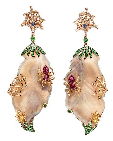 Opal Spider Earrings by Wendy Yue