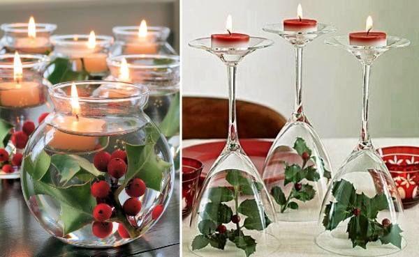 déco de table pour Noël en houx, verres à pied et bougies
