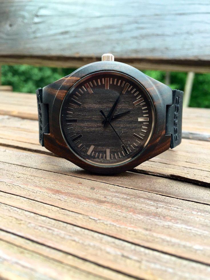 Mens Dark Ebony Real Wood Watch, Engraved Wooden Watch, Gift for him, Mens Wooden Watch, Wedding Gift, Anniversary Gift, Groomsmen Gift by axMen on Etsy https://www.etsy.com/listing/234167949/mens-dark-ebony-real-wood-watch-engraved