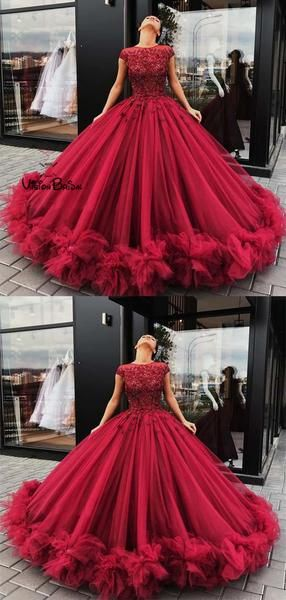 dd22feb7ffca Gorgeous Dark Red Cap Sleeves Rhinestones Ball Gown Tulle Prom Dresses With  Appliques, Prom Dresses, VB01462 #promdresses #promdresseslong # promdresses2018 ...