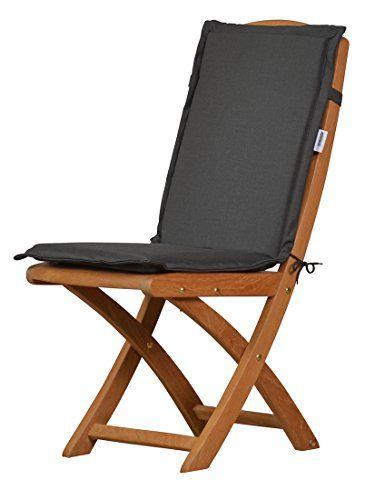 6 X Anthrazit Graue Sitzauflage Für Garten Stühle U0026 Klappstühle, 88 X 40 Cm