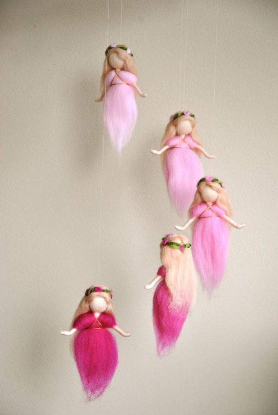 Waldorf inspired needle felted mobile: The Pink Colors Wool Fairies