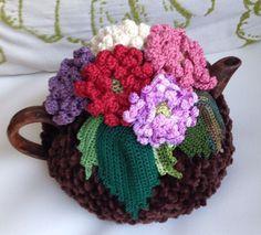Crochet tea cozy brown tea cover aster tea cosy tea warmer aster flowers green…