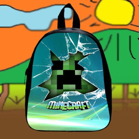 Minecraft Creeper Glass Broken  Custom SchoolBags by KopiHitam55