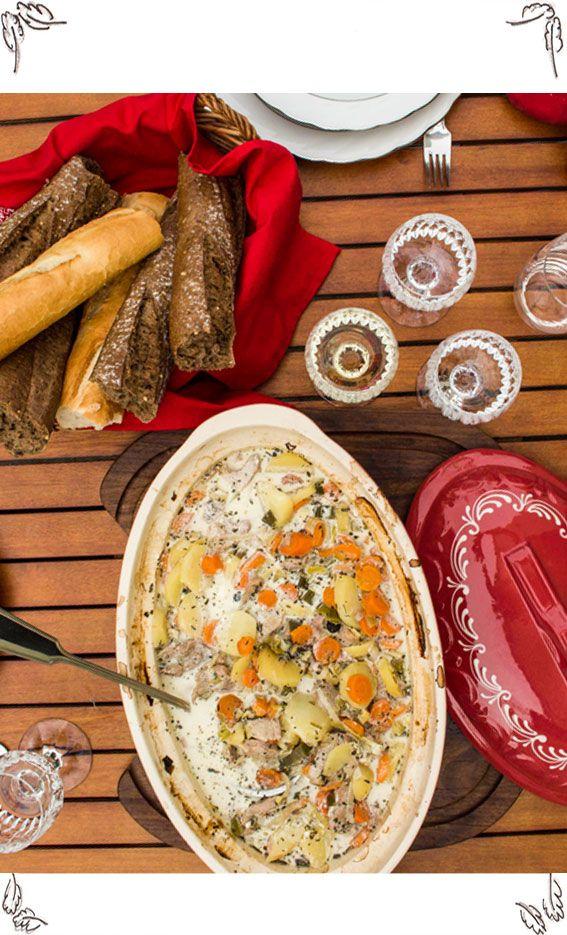 Rezept für Elsässer Bäckerofen mit Schweinslungenbraten, Kartoffeln, Karotten und Lauch