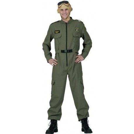 Déguisement pilote Top Gun adulte, pilote de chasse, militaire, uniforme, combinaison, carnaval, aviation