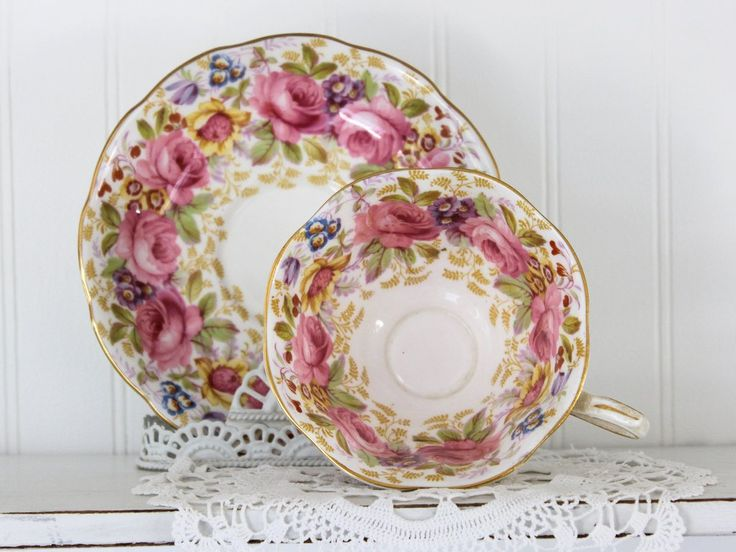 royal albert serena cup and saucer rich floral bone china teacup made in england