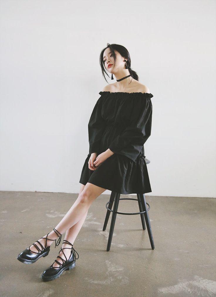 Gathered Tiered Dress (Black) | STYLENANDA @blackswanballet