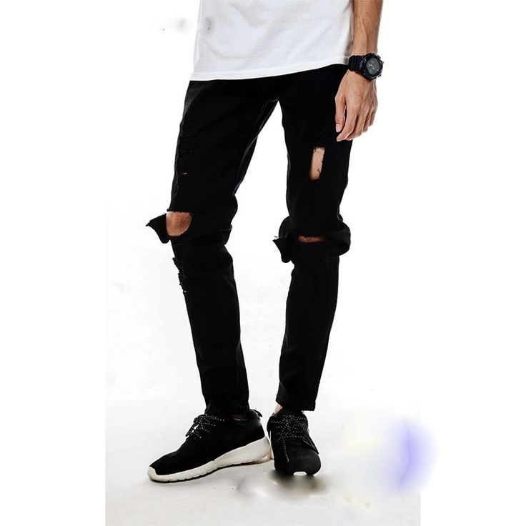 BLACK high quality mens designer brand jeans big hole ripped destroyed biker 2015 street kanye west tyga style clothes MB544