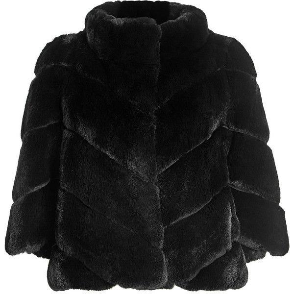 Yves Salomon Rabbit Fur Jacket ($1,819) ❤ liked on Polyvore featuring outerwear, jackets, black, rabbit fur jacket, rabbit jacket and yves salomon