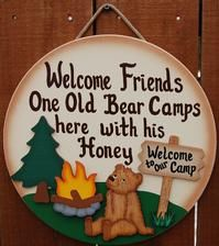 "9"" x 10"" This is one of our new and very popular camping sign. ""Home is where we park it"" fits all of those who love to live in there camper, RV, motor home, etc. Welcome to our camp sign, raccoon, camper and campfire are each separate pieces, which are painted then attached to this painted wood camping sign.  Camping sign is made from wood and hand painted with green exterior paint. Letters are painted beige. We don't offer personalizing on this sign because there's not enough room for…"