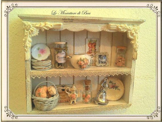 1:12 Shabby miniature Kitchen wood hanging shelf for dollhouse with all contents. on Etsy, $120.52