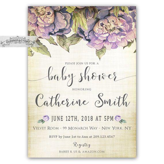 Wonderful Lavender Baby Shower Invitations Part - 10: Lavender Baby Shower Invitations, Itu0027s A Girl, Purple Lilac Florals, Baby  Shower Brunch