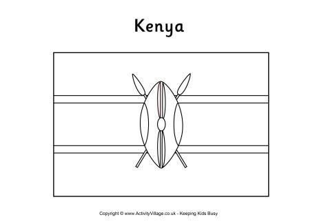 Kenya flag colouring page