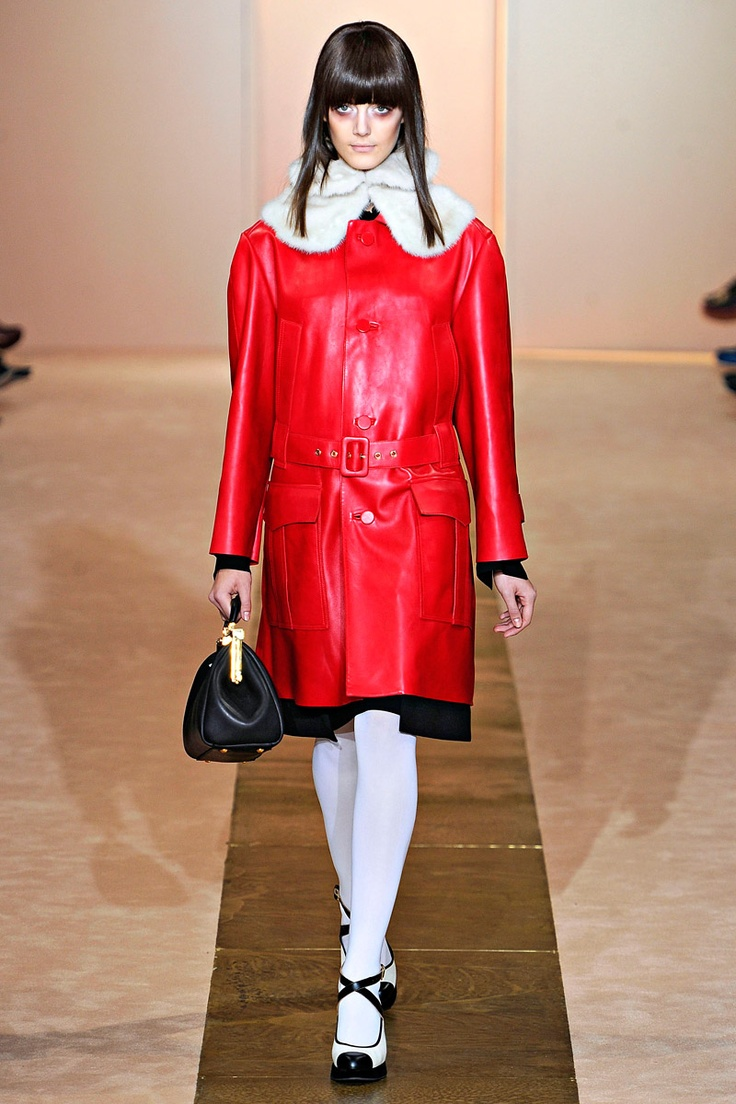 Red hot leather coat.  Marni.