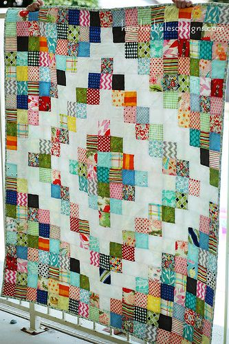 another version of the Potluck Quilt - 2 diamonds. Looks even better. i think this might be my scrap project!
