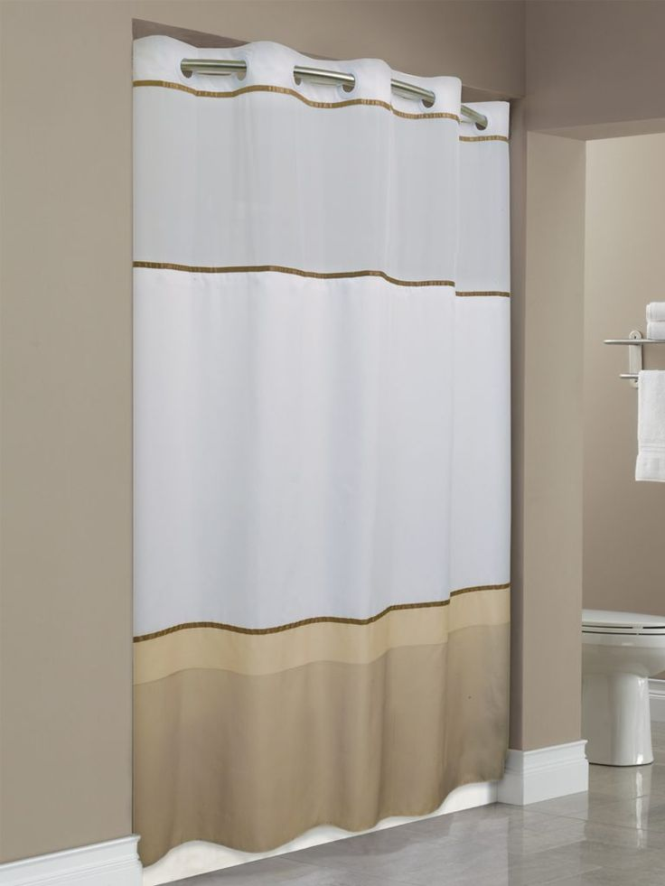 The original Hookless shower curtain. Featuring our patented Flex-On rings. This popular hotel shower curtain installs in seconds to save time and money.