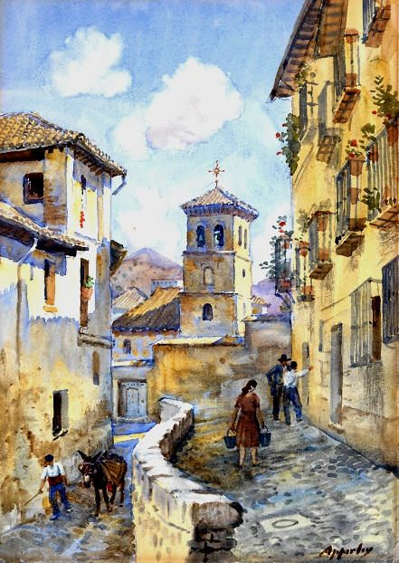 George Owen Wynne Apperley - Calle del Albaycín (granada, spain)