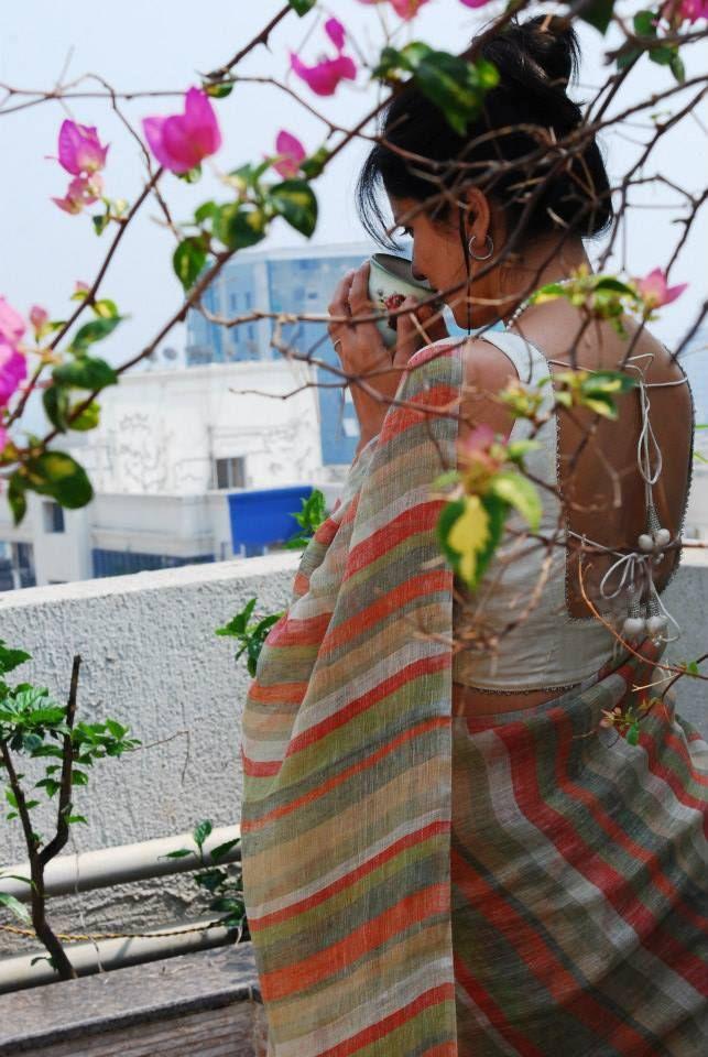 Striped sari