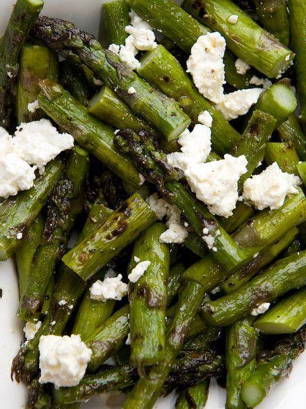 Grilled asparagus, feta, lemon zest, olive oil.
