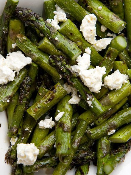 Grilled asparagus with feta, lemon zest, and olive oil